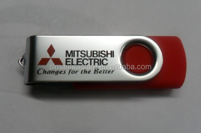China OEM Free Company LOGO Printed Metal Twister USB Pen Drive Promotional Plastic Swivel usb flash drive