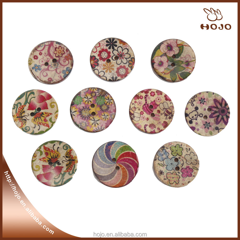 Fashion 2.5cm round colorful lollipop printed Coconut shell button