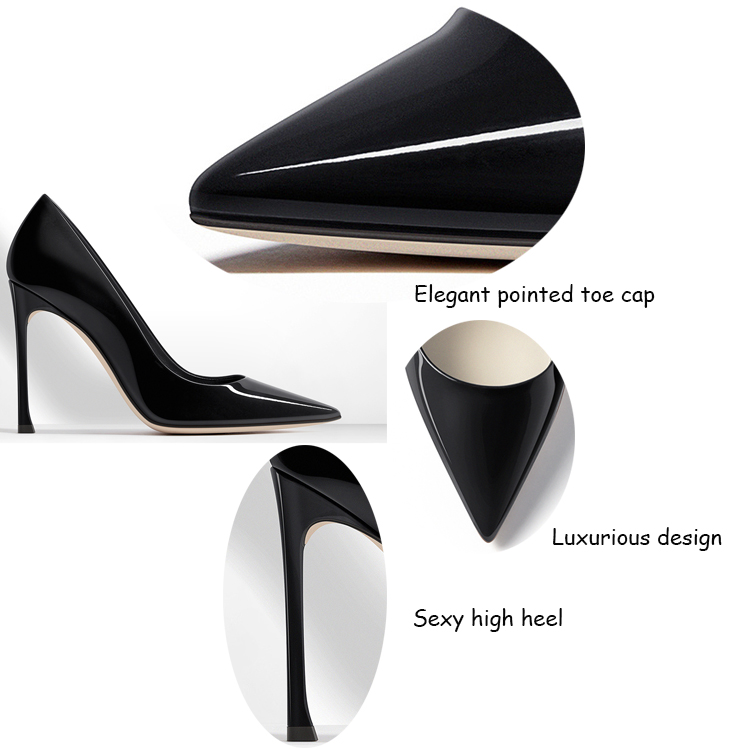 new design black partent leather upper high heel pointed toe women single small orders ladies shoes guang zhou