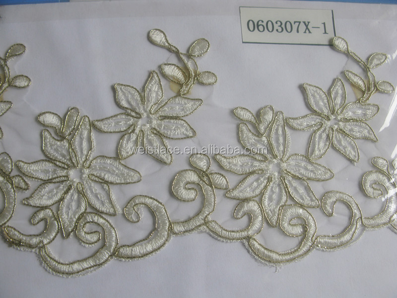 Wholesale Hot Wedding Lace Fabric/New indian lace fabrics/Manufacturer swiss border lace border trim for home texitle