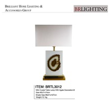 modern Cream crystal and brass table lamp with agate home lighting decoration-B