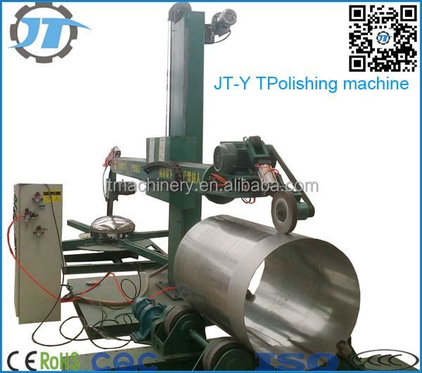 Metal tank shell cylinder head interior surface robotic polishing grinding machine