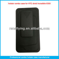 High quality plastic mobile phone holster combo case for htc incredible 6300