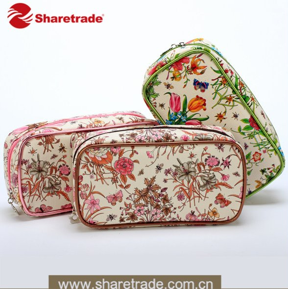Portable PU Leather Makeup Pouch Wholesale Cosmetic Bags With Flower Printed
