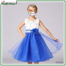 baby frock designs Blue Flower infant children Dress Little Girls Party Wear Western Dress