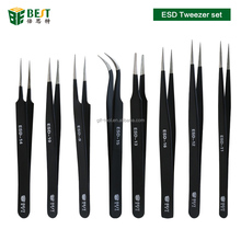 Professional Stainless Steel Fine Point Curved Straight Tip Tweezers Eyelash Extension Tweezers
