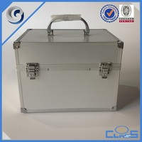Silver Beautiful Fashion Double Open Aluminum Frame Cosmetic Make Up Nail Case MLD-AC2723