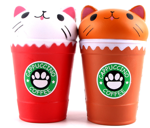 Slow rebound cat head coffee cup soft pinchable decompression toys creative vent simulation food soft pressure ball PU toys