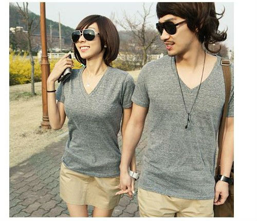 2012 new fashion korean style V-neck sweet couple t-shirt