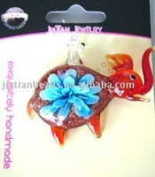 Lampwork Elephant Glass Pendants with Inner Flower
