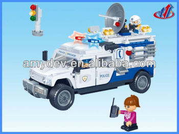 education building block games 290pcs Building Blocks Policeman motorcyle set