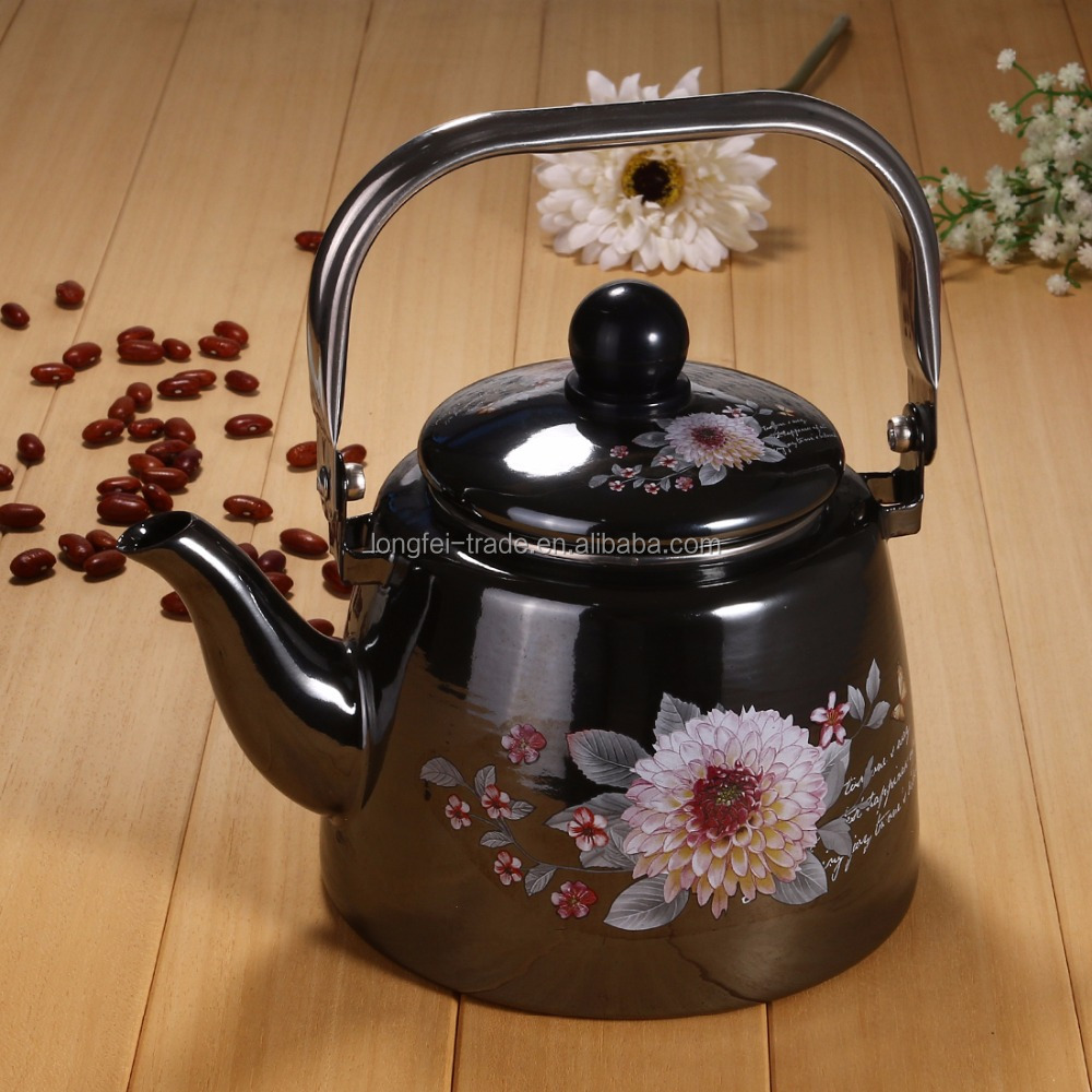 Well designed high quality cast iron enamel coated camping tea kettle