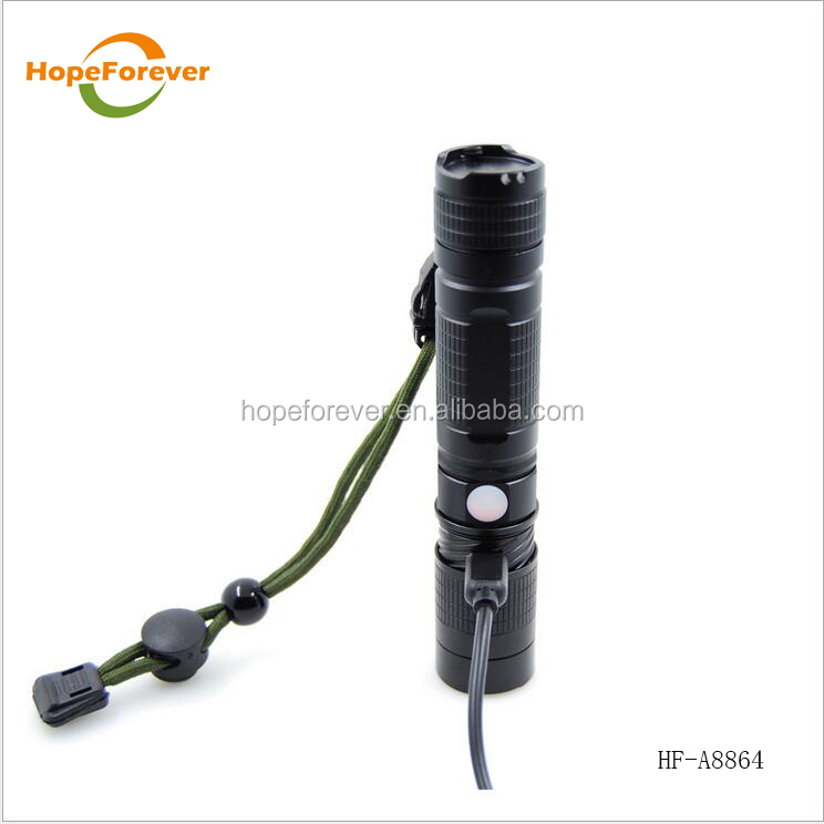 China factory high quality 4V USB rechargeable led torch flashlight for 2 years garrenty time