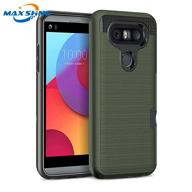 Maxshine slide card slot protective phone case for LG Q8 phone case tpu pc