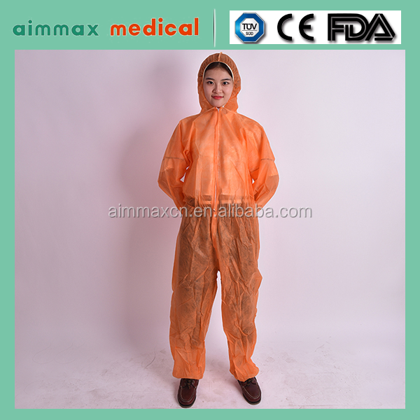 Orange PP Disposable SMS women coverall ,Coverall with hood ,FDA/CE/ISO13485