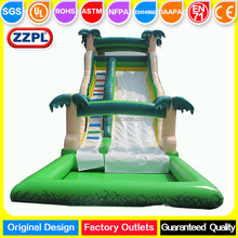 ZZPL coconut tree adult inflatable water pool slide, big funny tropical water slide