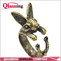 Antique Bronze Silver Black adjustable retro punk Rabbit Ring free size hippie animal Bunny Ring jewelry for pet lovers