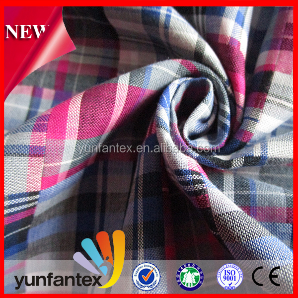 2018 fashion double brushed check yarn dyed fabric with high quality