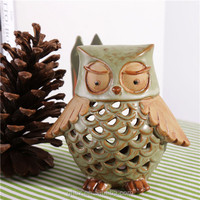 crafts gifts animal owl ceramic candle lanterns