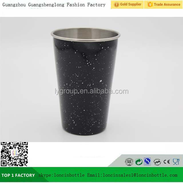 Stainless Steel Cups 17oz Pint Cup Tumbler,Stackable Durable 500ML Matte Black color painting Cup