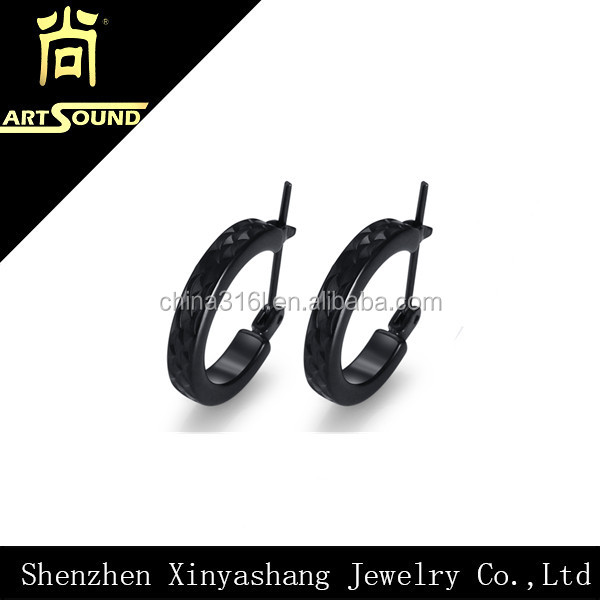 new fashion black stainless steel earring