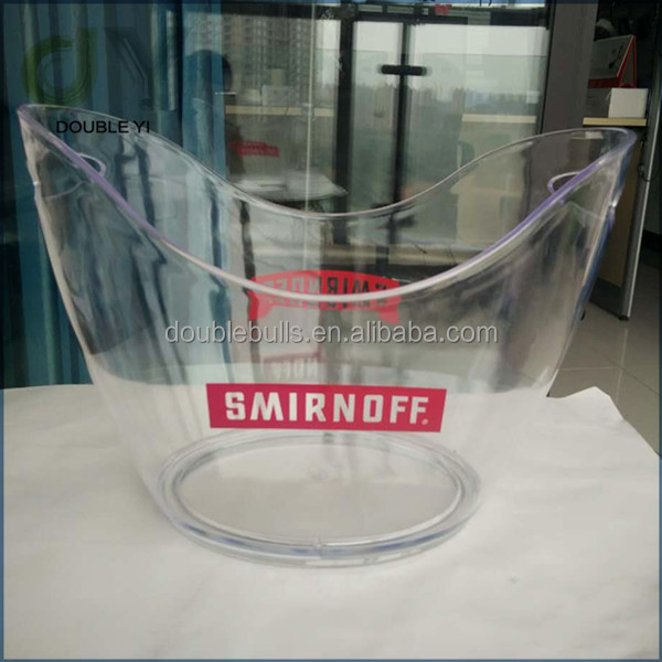 Custom plastic wine cooler/clear acrylic ice bucket for wholesale
