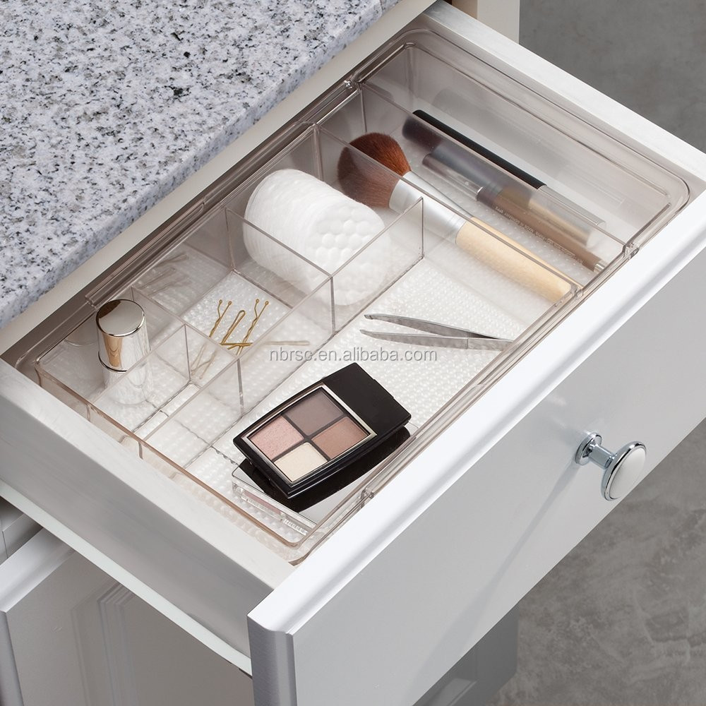 Clarity Plastic Expandable Makeup Cosmetic Drawer Organizer