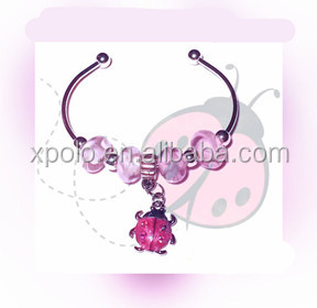 Fashion pink tone European beads style bracelet the cute beetle charm cuff bracelet for kids