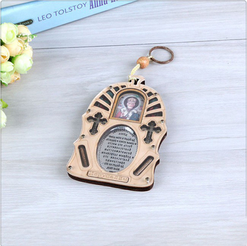 Christian cross key chain wooden hollow carve  key chain hook