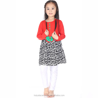 2015 baby girls red green greek key ruffle top and and plain white pants set,christmas outfits for kids
