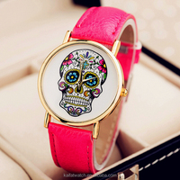 Promotional cheap ladies womens pu leather strap skull watches