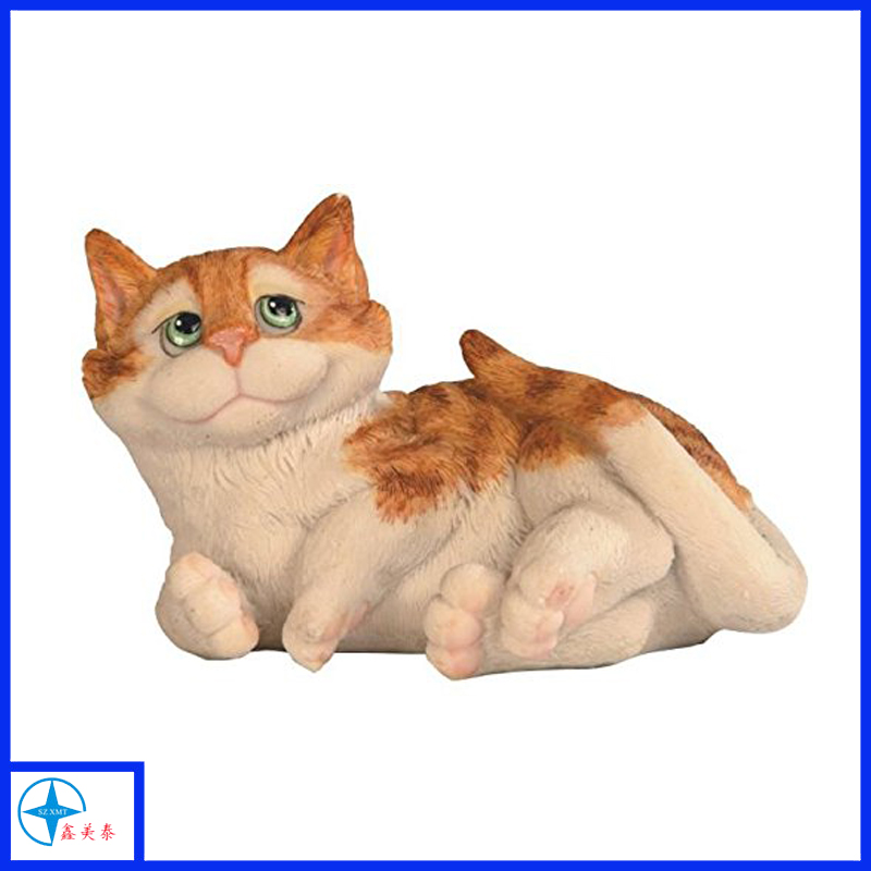 Orange And White Tabby Cat Lying Down Animal Statue Decoration