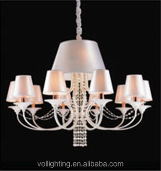 Newest house design decorative iron crystal chandelier lamp shade hotel project light