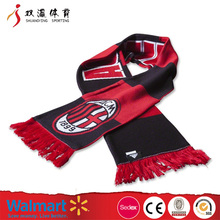 Knitted team soccer scarf with tassels,wholesale custom different fleece soccer scarf/satin soccer scarf