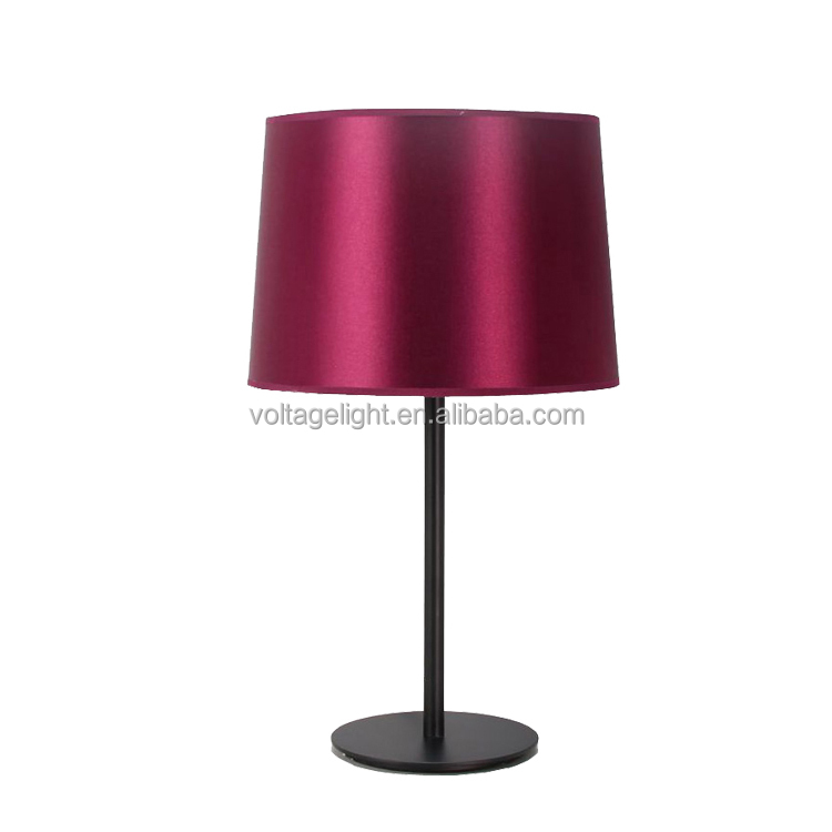 Modern Table Lamp LED Bulb Fabric Shade Cheap Price Purple Color Simple Writing Table Lamp