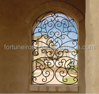 Wrought iron window with beautiful scroll work buy for Window scroll function