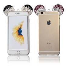 C&T 3D Diamond Mice Ears transparent soft tpu phone shell cover for iphone 6s case