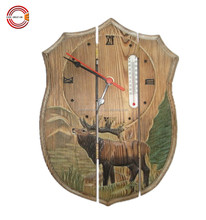 decorative hand carved wooden wall clock with thermometer