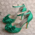 Ladies Green Evening Sandals with Bowtie