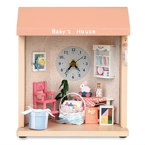 Dollhouse Baby House Table & Wall Clock