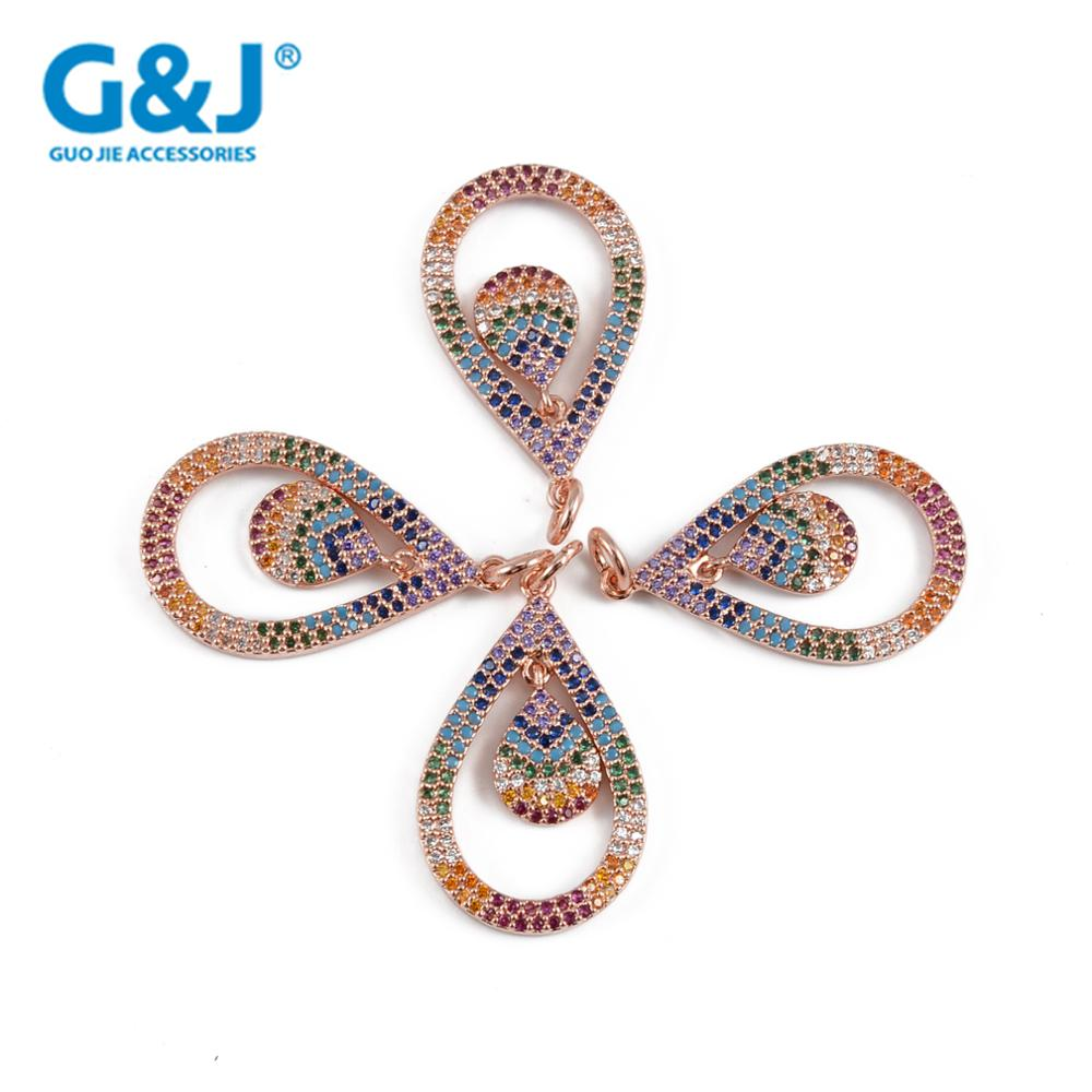 Guojie brand wholesale charms custom fashion micro pave CZ pear shape silver bead charm pendant