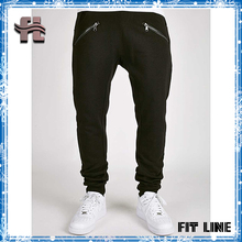 OEM stylish latest design cotton sports harem pants drop crotch zipper pockets french terry dance pants for man