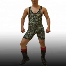 2018 Men Hotsale Camo Cheap Wrestling Singlets Antislip strip wrestling singlet