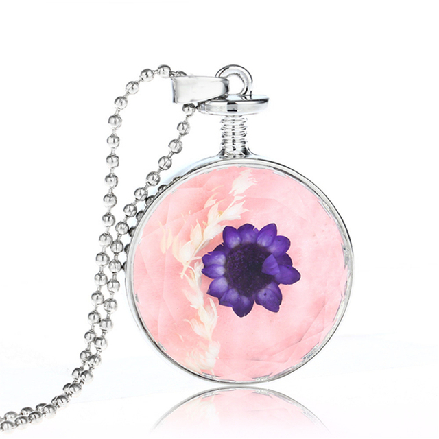 Beautiful Pretty Design Wholesale Dry Flower Healing Crystal Plants Necklace
