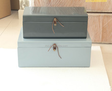 vintage square storage box recycled leather and metal trunk side table
