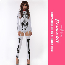 White Bad To The Bone Halloween Skeleton Costume For Women