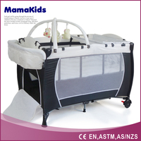 Foldable baby travel cot/ baby crib bed / baby portable playpen with wheels
