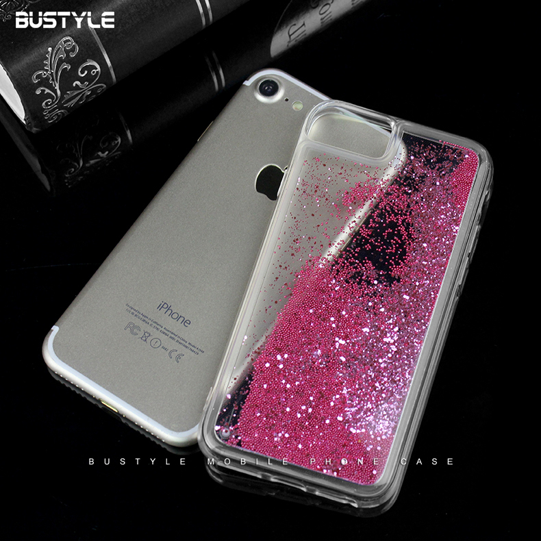 Custom UV Printed Liquid Phone Case for iPhone 8 plus X Glitter Case for Samsung Note 8