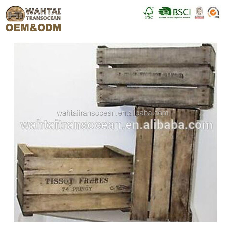 Vintage rustic old French wood apple box bushel crates
