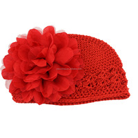 Christmas red toddler crochet knit caps and hats funny baby girl crochet flower hats